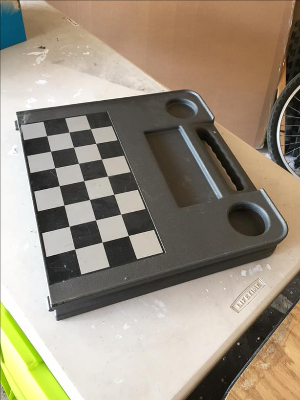 Magnetic Metal Checkers/Chess board foldable table