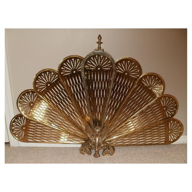 Vintage Solid Brass Fireplace Folding Fan Screen Central Regina Regina