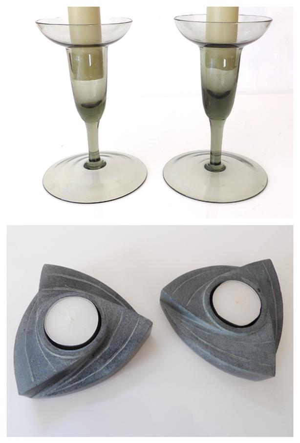 2 sets of Candle Holders Pair of Soapstone & 60's Mod Glass
