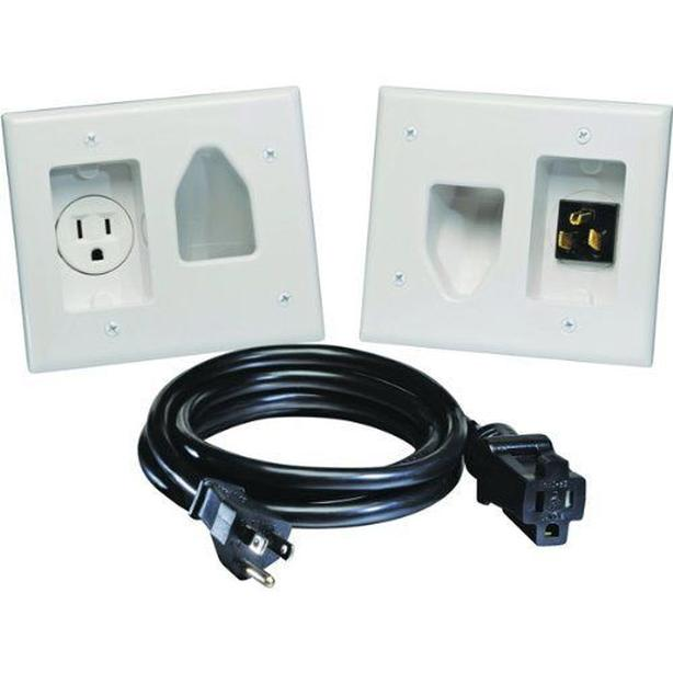 Recessed Pro Power Kit w/Straight Blade Inlet White