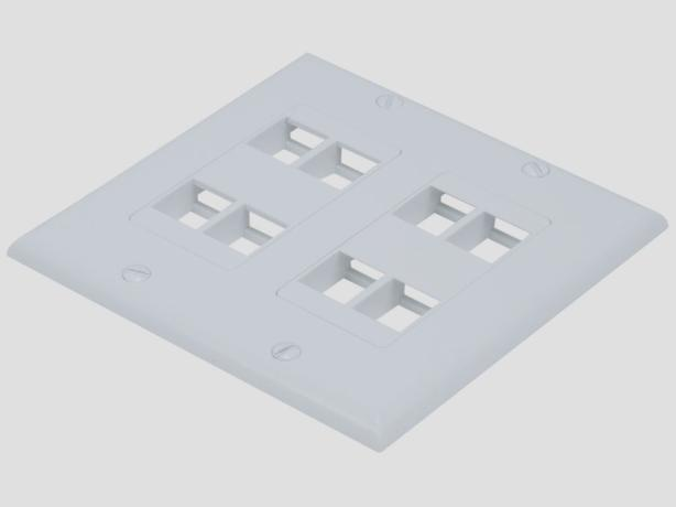 2-Gang Wall Plate for Keystone Inserts - White