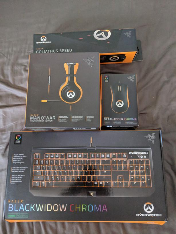  Log In needed $350 · Razer Overwatch Keyboard, Mouse, Headset, Mouse-pad  and 2 1 Speakers