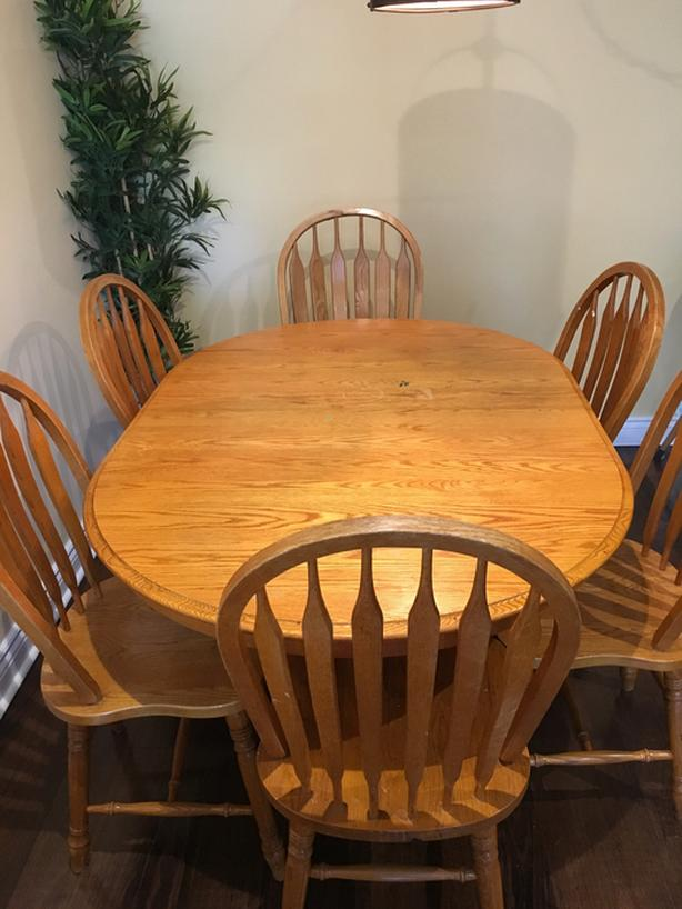 Solid Oak Dining Set - Oval Table and 6 Chairs