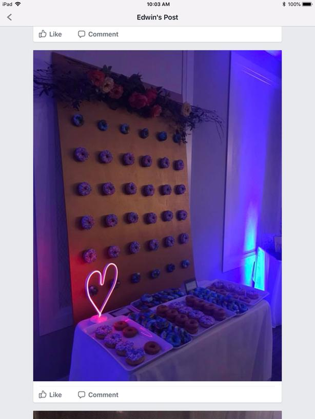 Used Wedding DONUT WALL WITH LARGE FLORAL ARRANGEMENT