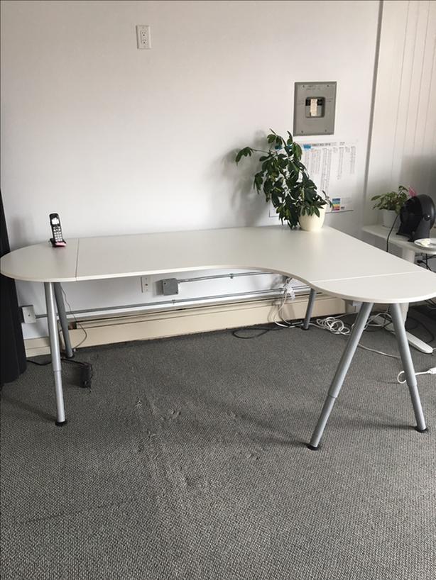 Ikea Galant Corner Desk   White U0026 Silver