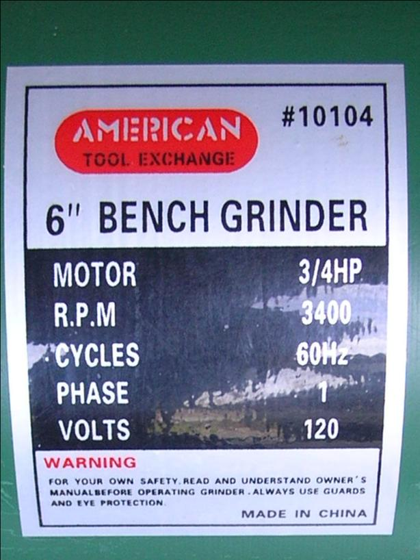 Marvelous American Tool Exchange 10104 6 Inch 3 4 Hp Bench Grinder Lamtechconsult Wood Chair Design Ideas Lamtechconsultcom