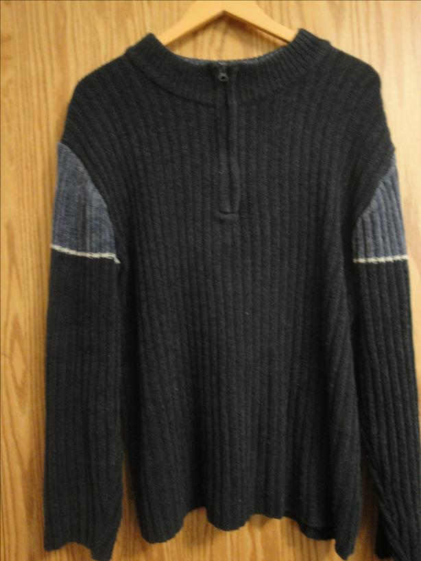 Men's Navy Blue Zip-up Collar Sweater, by Brody (Large)