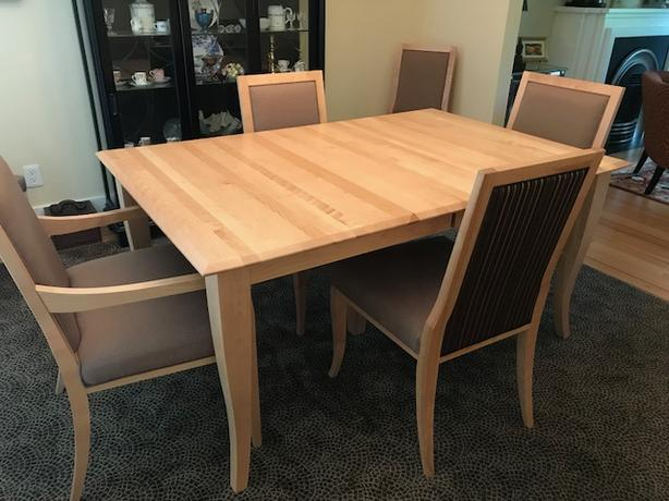 Dining Table Chairs And Buffet In Solid Maple