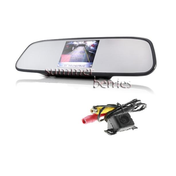 """Rearview Mirror with 4.3"""" LCD Display + Backup Camera Set"""