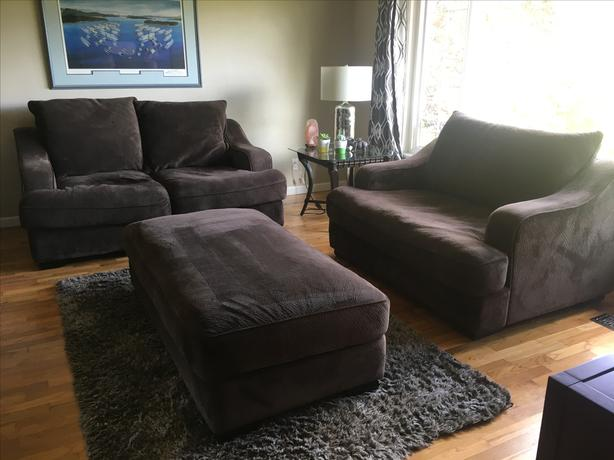 Couch, One And A Half Chair, Ottoman Set