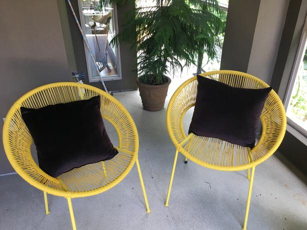 Two, all-weather, Papasan chairs with choice of cushions