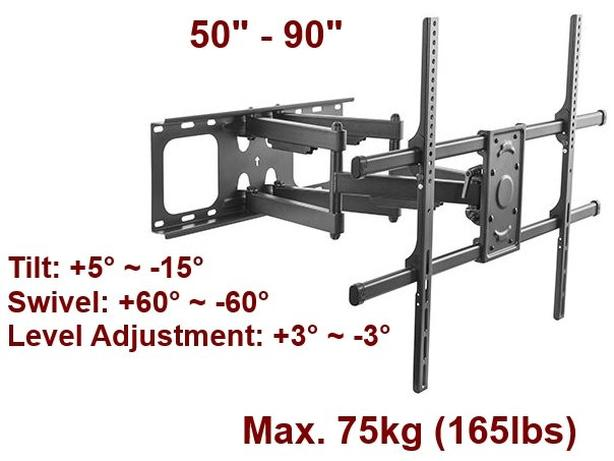 """Full-Motion TV Wall Mount - For 50""""-90"""" Televisions"""