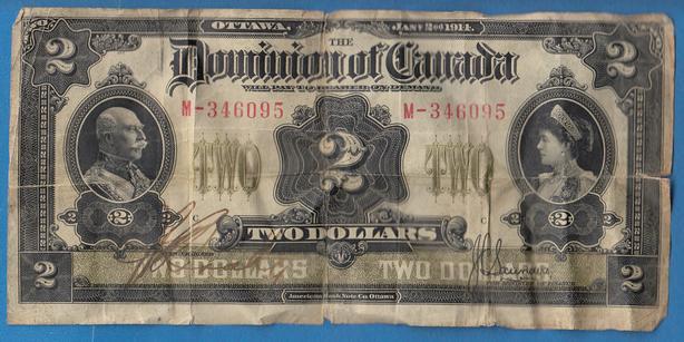 1914 DOMINION OF CANADA $2 BILL