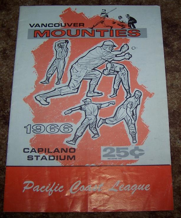 1966 VANCOUVER MOUNTIES BASEBALL PROGRAM PACIFIC COAST LEAGUE