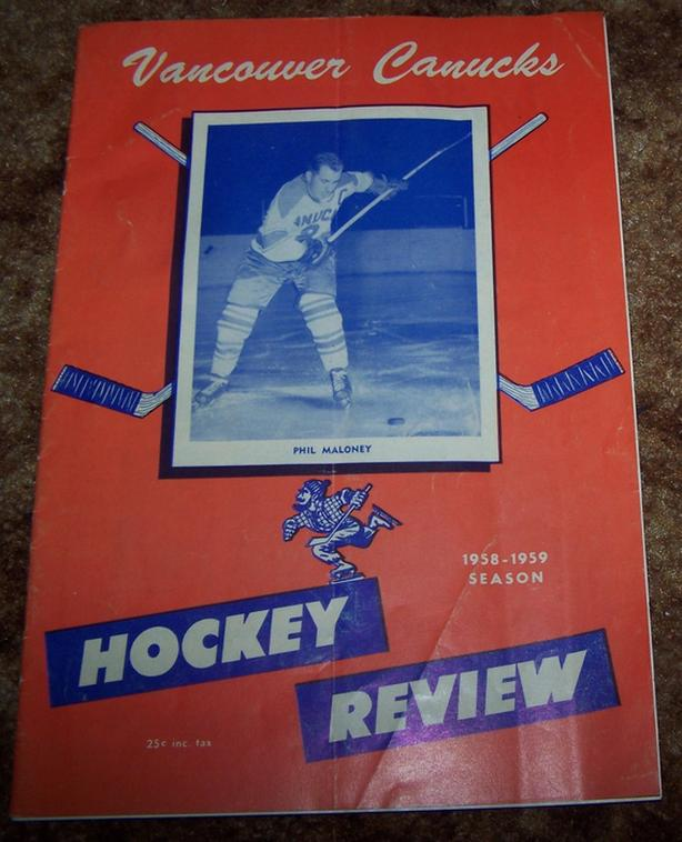 RARE 1958 VANCOUVER CANUCKS HOCKEY REVIEW PROGRAM vs. VICTORIA COUGARS