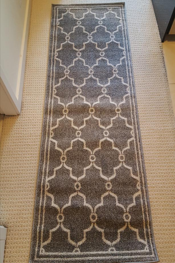 New Geometric Grey/Beige Indoor/Outdoor Runner