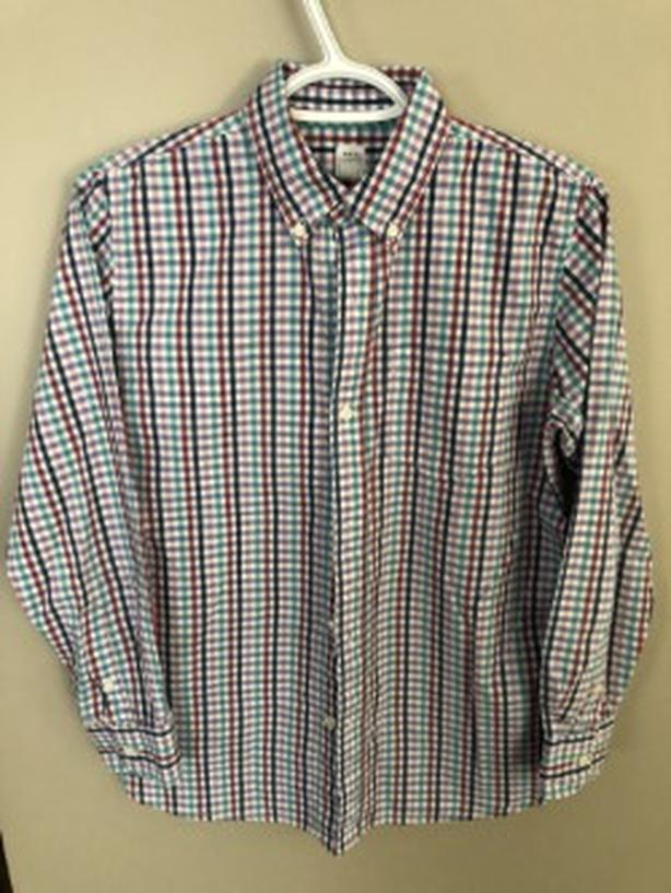 YOUTH BOYS BUTTON DOWN GAP DRESS SHIRT WITH CHECKERS SIZE 14/16