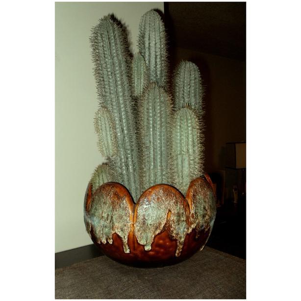 Faux (Artifical) Cactus in Artistic Textured Ceramic Container