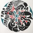 First Nations Artist William Good, Moon with Eagle, Salmon, Bear & Wolf - Signed