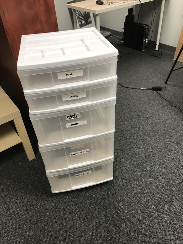 Plastic organizing drawers