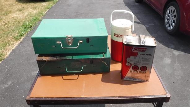 2 Vintage Coleman Stoves, a Water Jug &