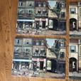 4 French Street Scene Bistro Corkboard Placemats with 6 Coasters