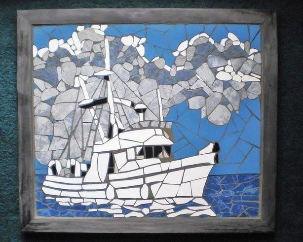 Mosac Fish Boat Wall hanging