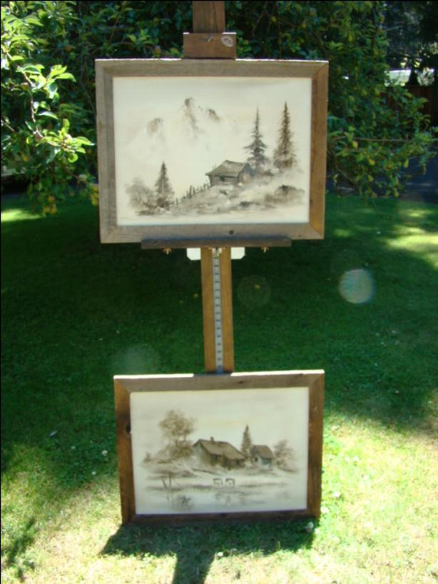 Two Rustic Framed Oil on Canvas Paintings $45 each