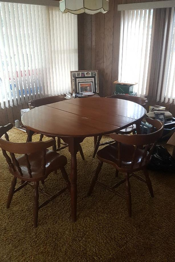 Maple Dining Table With 4 Chairs And Hutch Set Only
