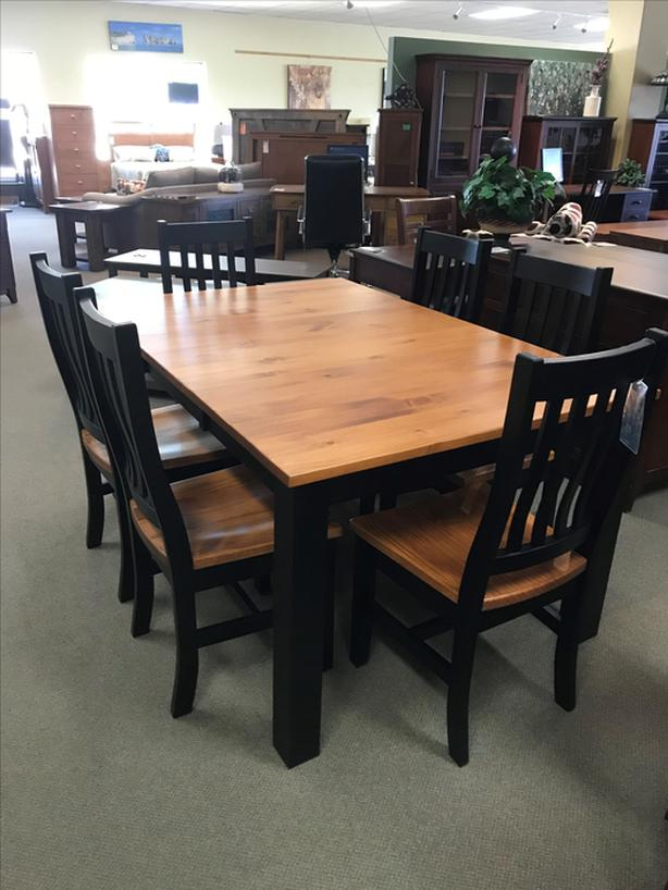 Solid Pine BC Made Dining Table And 6 Chairs NEW