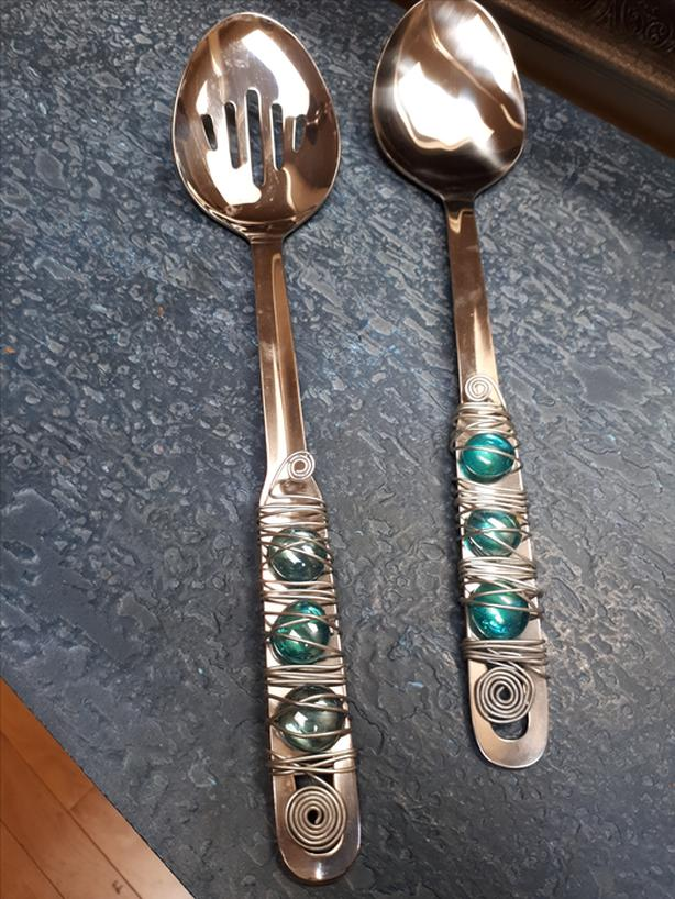 BeautifulHandCrafted Metal Serving Spoon & Slotted Spoon W/TurquoiseStoneAccent