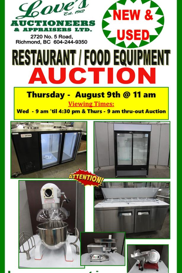 HUGE RESTAURANT / FOOD & INDUSTRIAL EQUIPMENT AUCTION Outside ...