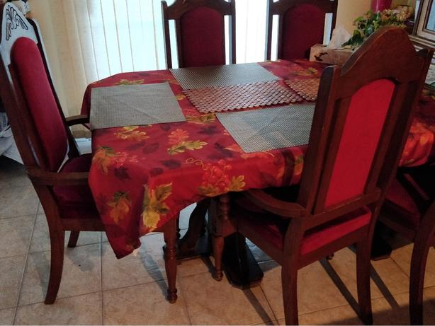 Solid Wood Maple Walnut Dining Table Set with 6 chairs