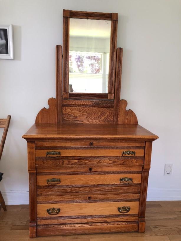 Antique Wood Dresser With Vanity Mirror Victoria City Victoria