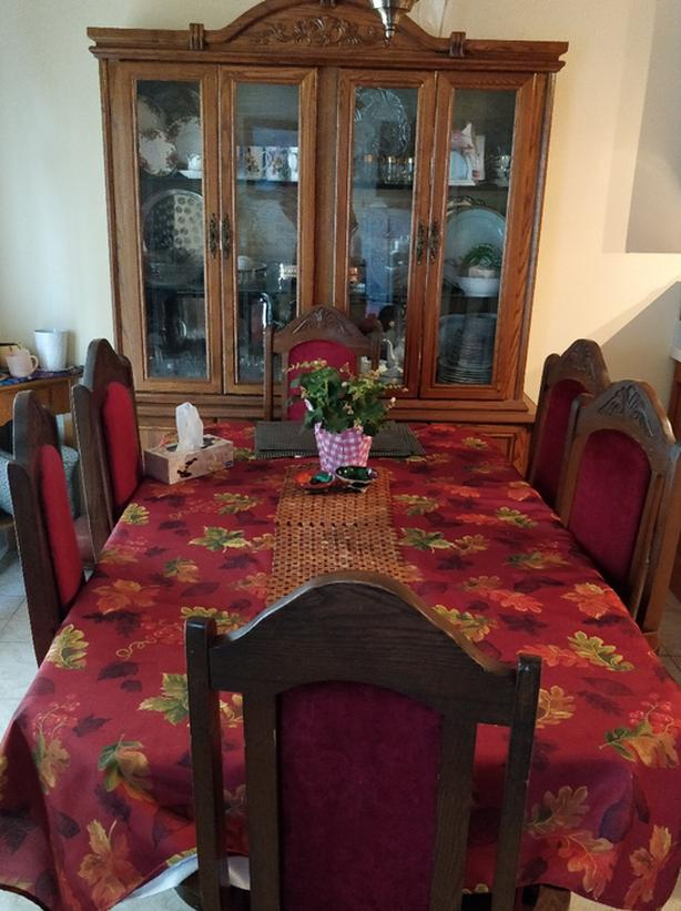 9 Piece Solid Wood Maple Walnut Dining Table Set- $550 or OBO