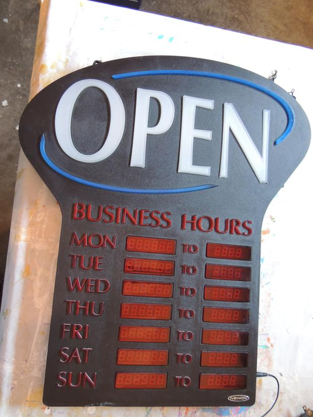 Newon OPEN LED Sign with Business Hours - RETAIL $160