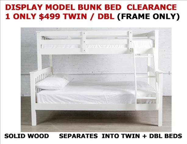 Display Model Bunk Bed Tw Dbl Solid Wood White 1 Only Clearance