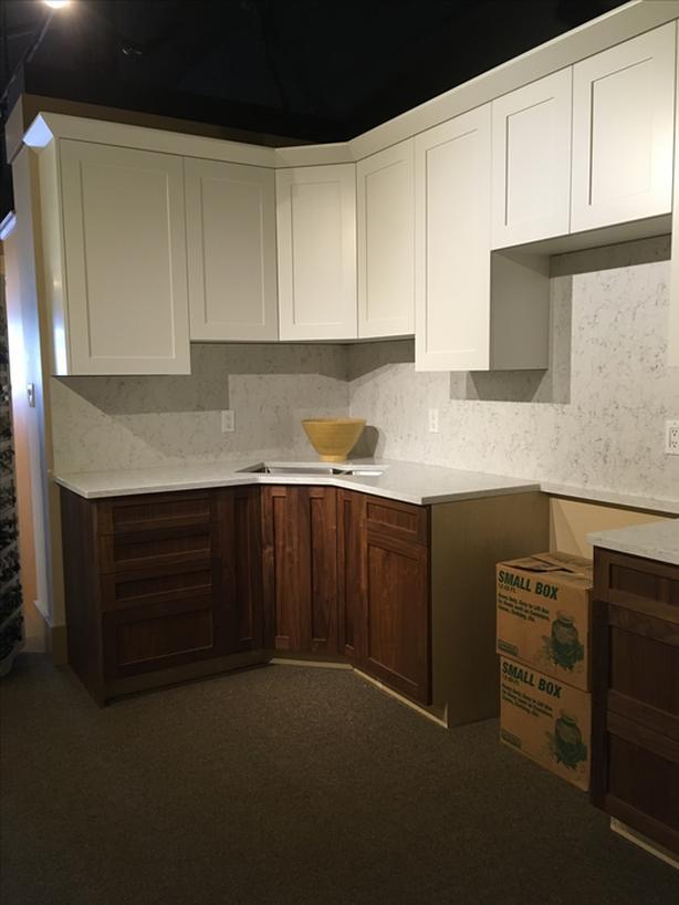 Custom U Shaped Kitchen White U0026 Clear Walnut Shaker Style.