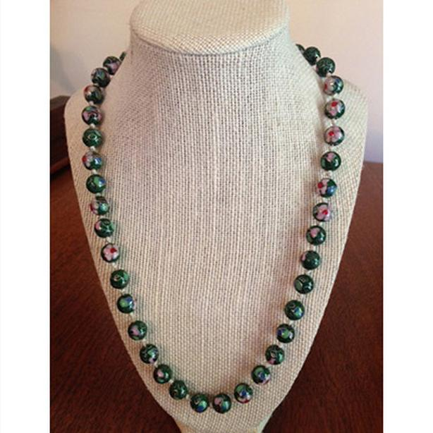 Vintage green cloisonne beaded necklace
