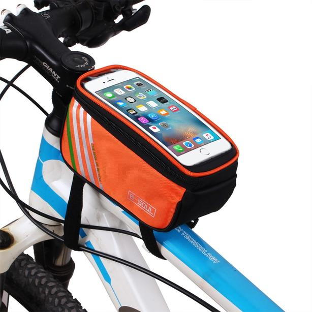 "Bicycle Bike Frame Phone Bag - 1.4L 4.8"" - Orange"