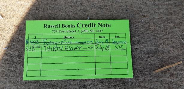 Russell Books Credit Note Saanich, Victoria