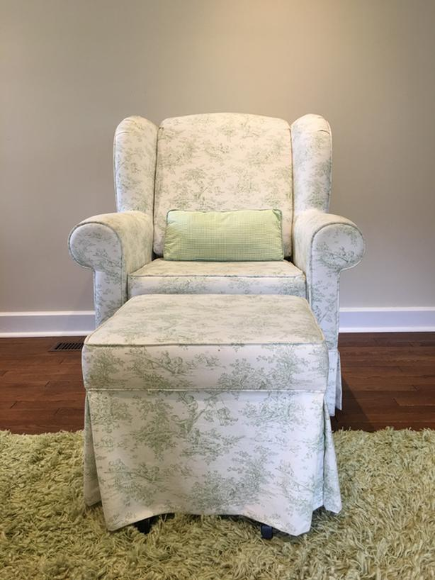 Upholstered Glider Chair and Matching Ottoman