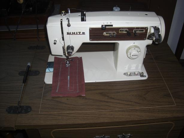 White Sewing Machine, with Desk