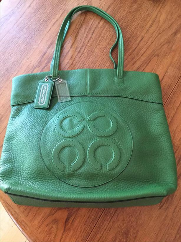 COACH Julia Op Art Perry Leather Tote