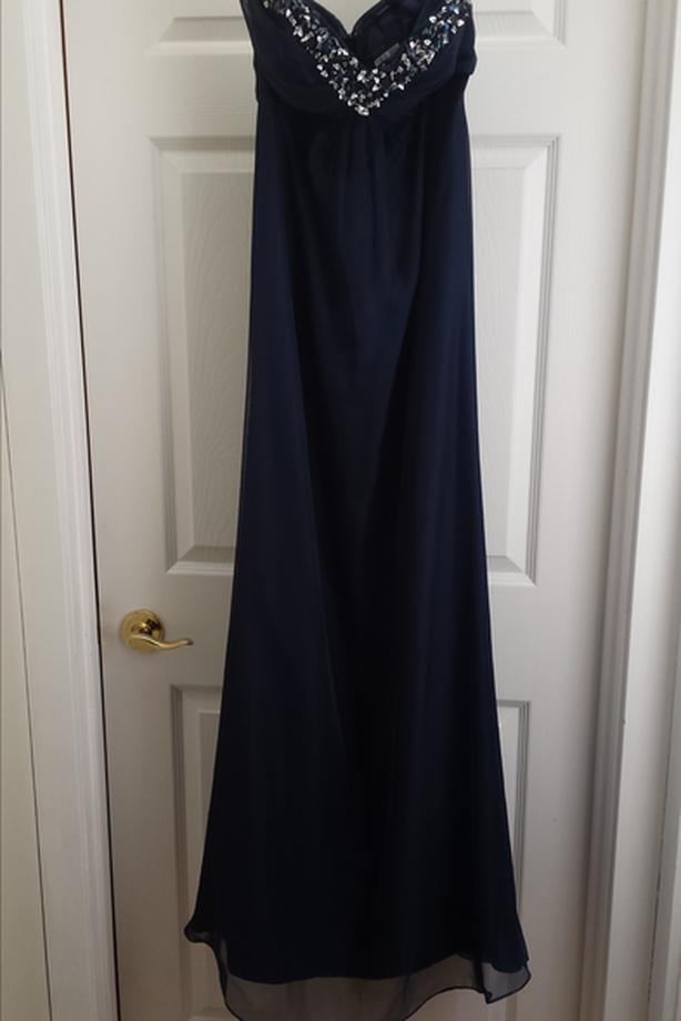 52b3adf21709 Alyce Navy Blue Grad Formal Dress - Size 8