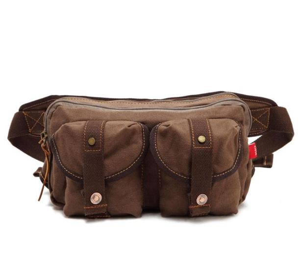 Canvas Waist Pack Bag - Brown