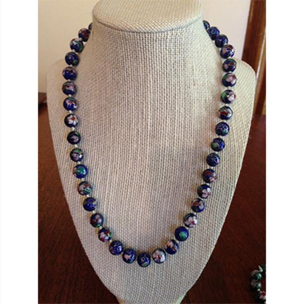 Vintage blue cloisonne beaded necklace