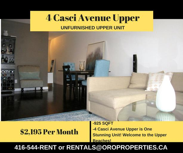 4 Casci Avenue Upper is One Stunning Unit! Welcome to the Upper Beaches!