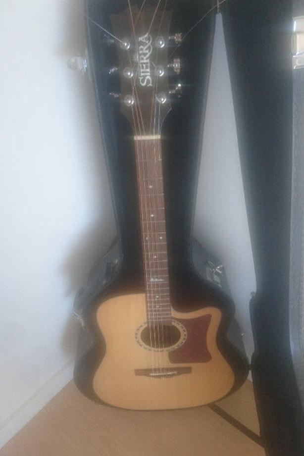 Sierra Electric Acoustic Guitar - hard case and new strings