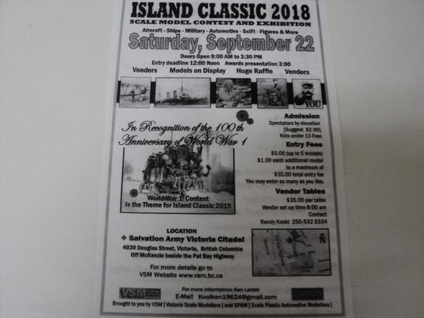 SOUTH ISLAND MODEL SHOW SATURDAY SEPT.22 9-3:30 In VICTORIA
